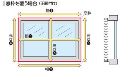 木製ブラインドフォレティア採寸方法正面付け取付けの画像